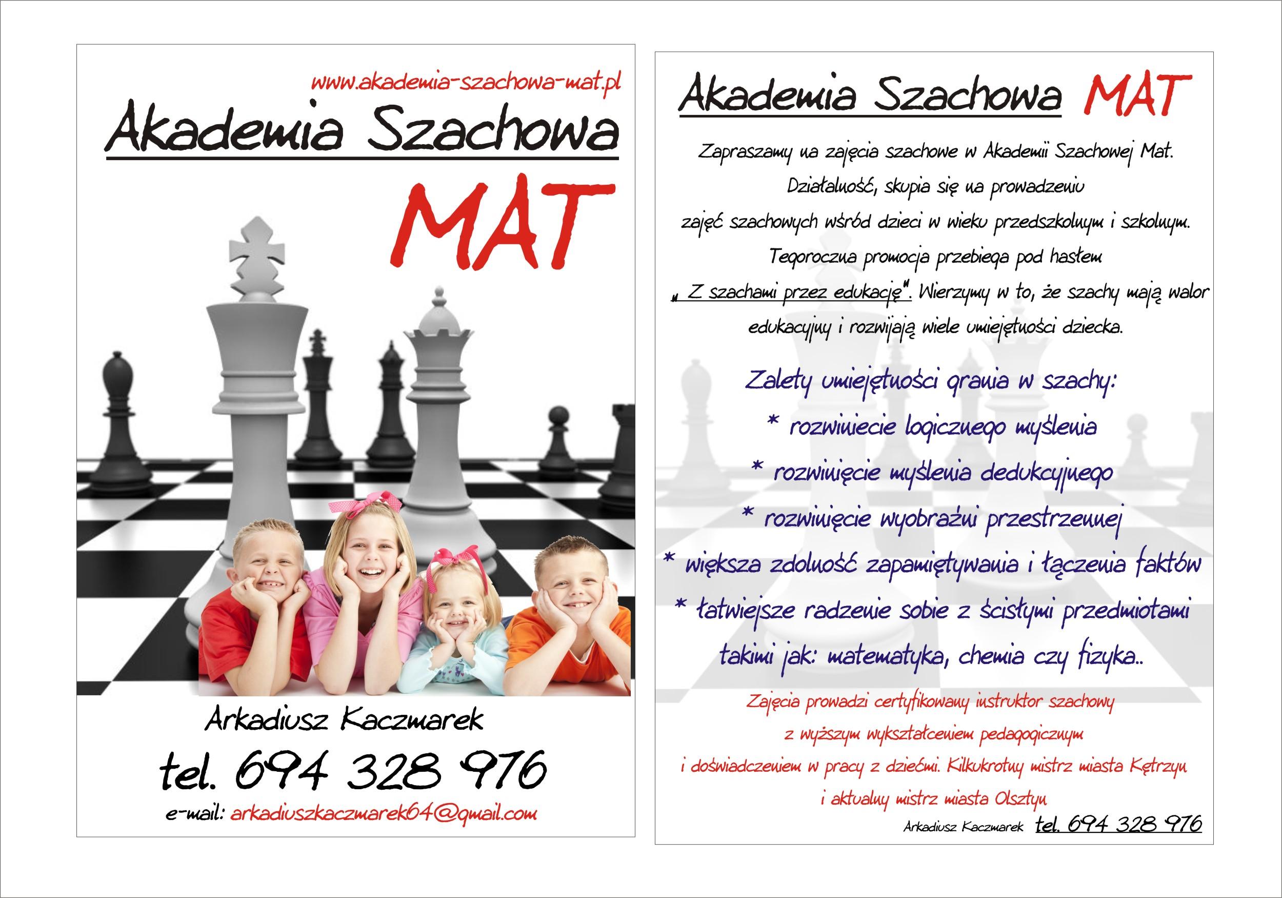 akademia szachowa mat ulotka